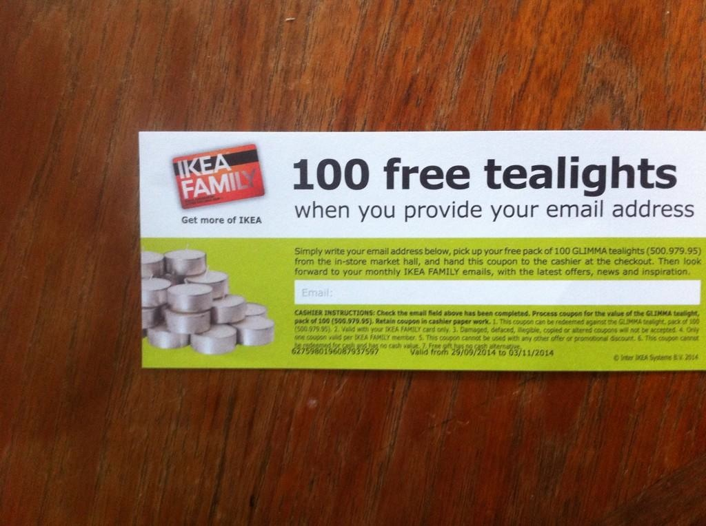 Ikea Family mailshot: 100 tea lights for your email address