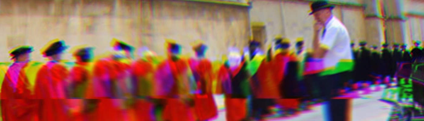 A glitched image of Oxbridge dons processing