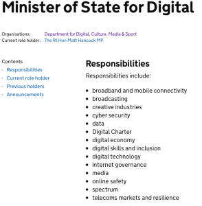 Minister of State for Digital, responsibilities
