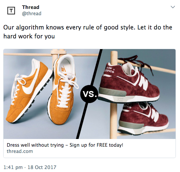 Advertising tweet suggesting an algorithm for a clothing retailer can make you fashionable