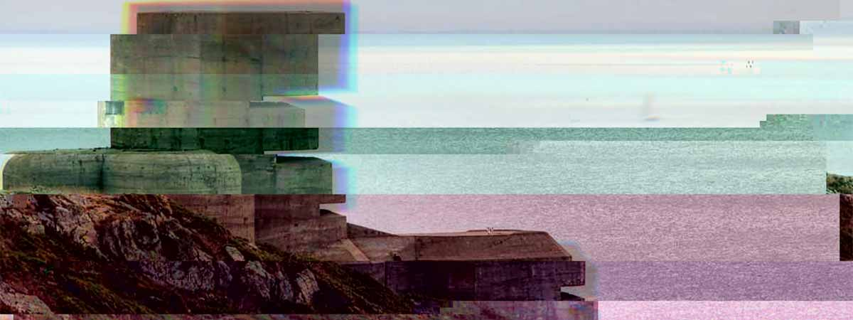 A glitched image of a buner in the world war 2 'Atlantic wall'