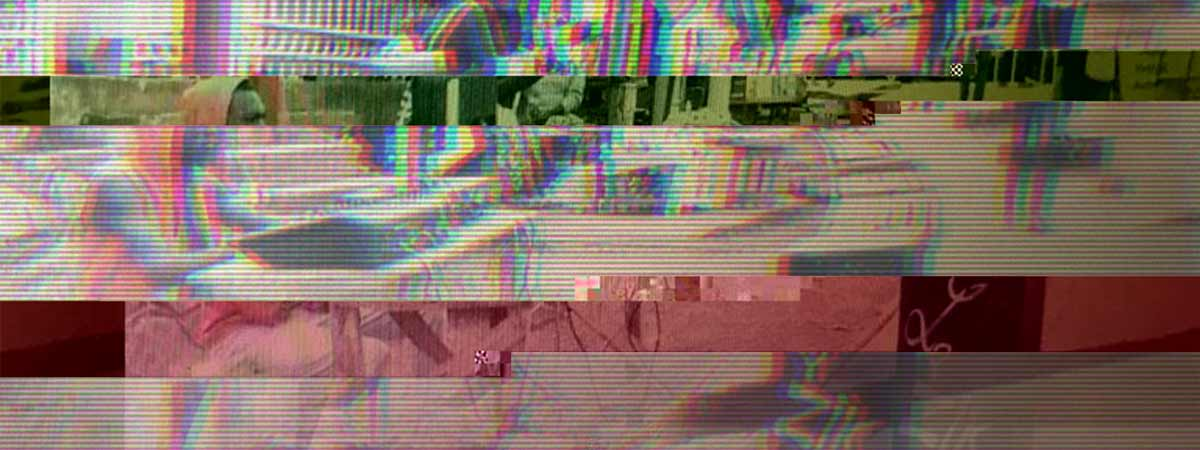 Glitched image of 'Downloaders' in the informal economy of Yaoundé, Cameroon