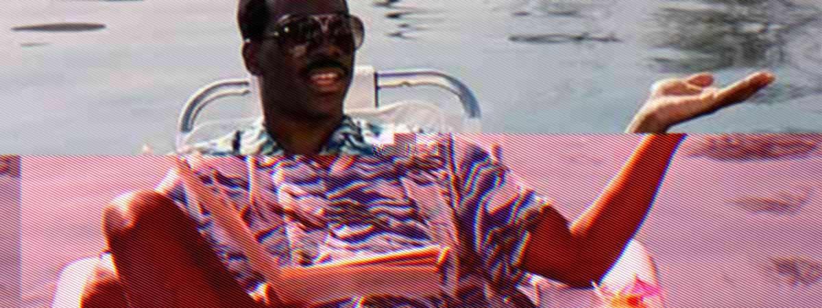 Eddie Murphy in the pool in Beverly Hills Cop 2
