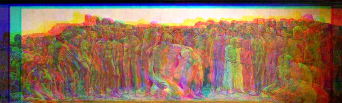 Glitched image of a mural of Prometheus giving humans' fire in Freiberg