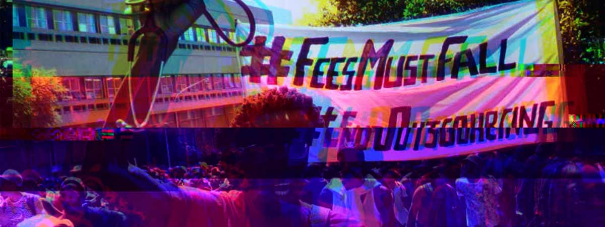 south african students protest with hashtag banners